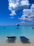 Beach. In Half Moon Cay, small island in Bahamas, cruise ship in the back Stock Image