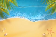 Beach from above. Sea, palm and sand with copy space in the middle Royalty Free Stock Photography