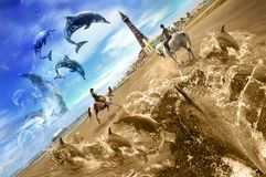 Beach Abstract. Surreal photo composite of dolphins on sandy beach and blackpool tower Royalty Free Stock Photography