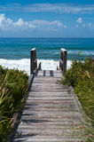 Beach Access. Ocean access boardwalk to Florida Beach, Vertical format Stock Image
