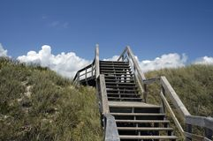 Beach access. A walkway over Florida dunes to the beach. Taken near St. Augustine, FL royalty free stock photography