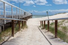 The beach access ramp along side of the grange jetty with a blue. Sky and white fluffy clouds at Grange South Australia on 7th November 2018 royalty free stock photo