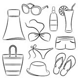 Beach Accessories. A set of beach accessories Stock Image