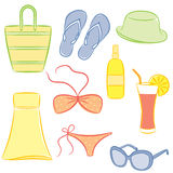 Beach accessories. A set of beach accessories Royalty Free Stock Photos