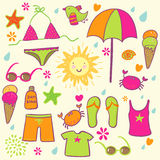 Beach accessories. Cute vector set Stock Images