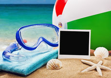Beach accessories on a background of sea Royalty Free Stock Photography