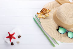 Beach accessories background Stock Photo