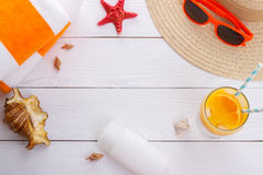 Beach accessories background Royalty Free Stock Image