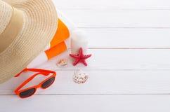 Beach accessories background Stock Photos