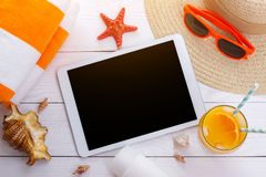Beach accessories background Royalty Free Stock Photography