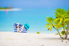 Beach accessories - blue bag, straw hat Royalty Free Stock Images