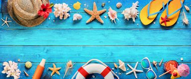 Beach Accessories On Blue Plank Stock Photography