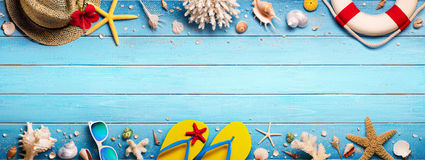 Beach Accessories On Blue Plank - Summer Holiday. Banner stock photography