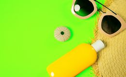 Beach accessories on a bright green colorful background. Trendy pink sunglasses, a bottle of sunscreen lotion, a fragment of a. Straw hat and sea urchin shell royalty free stock image