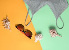 Beach accessories on a colored pastel background. T-shirt, sunglasses, sunblock, cockleshells. Top View. Beach accessories on a colored pastel background. T stock images