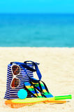 Beach accessories. Concept of summer vacations Royalty Free Stock Photos