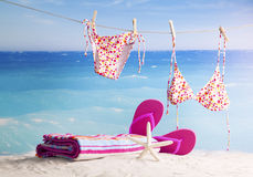 Beach accessories. Concept of summer vacations, retro style Stock Images