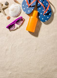 Beach accessories with copy space. Some beach accessories with copy space Royalty Free Stock Images