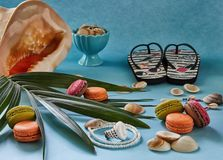 Beach accessories, fresh tasty fruit and macaron on a blue background royalty free stock photos