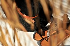 Beach accessories hat and sandals royalty free stock photo