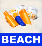 Beach accessories. holiday background Royalty Free Stock Photo