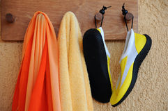 Beach Accessories on the Hooks Royalty Free Stock Images