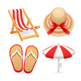 Beach Accessories Icons Set Stock Image