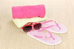 Beach accessories on mat Royalty Free Stock Photo