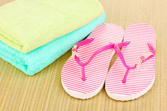 Beach accessories on mat Stock Images