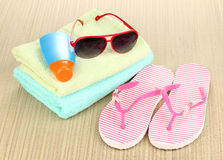 Beach accessories on mat Royalty Free Stock Photos