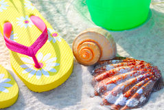 Beach Accessories in Morning Sun Royalty Free Stock Images