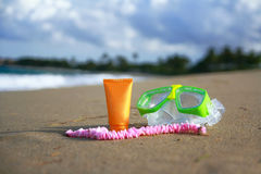 Beach accessories on ocean Stock Photos