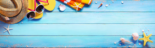 Free Beach Accessories On Blue Table Stock Image - 92403711