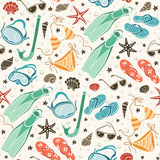 Beach accessories  pattern Stock Photo