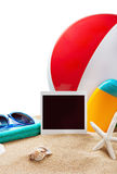 Beach accessories and photos on the memory isolated Stock Photography