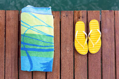 Beach accessories at the pier Royalty Free Stock Images