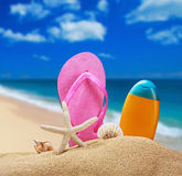 Beach accessories for relaxing in the sand Stock Image