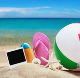 Beach accessories for relaxing in the sand Stock Images