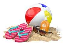 Beach accessories for relaxing. Sunscreen bottle, flip flops, su. Nglasses and ball onthe sand. 3d illustration Royalty Free Stock Photos