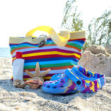 Beach accessories on the sand Royalty Free Stock Photography