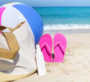 Beach accessories on the sand Royalty Free Stock Photos