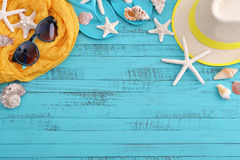 Beach accessories with sea shells Stock Images
