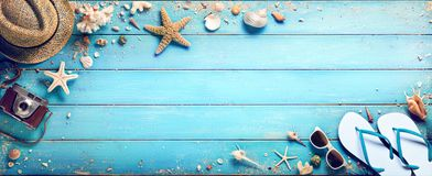 Beach Accessories With Seashells On Wooden Plank. Summer Holidays stock photo