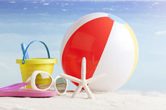 Beach accessories with starfish and beachball Royalty Free Stock Photography