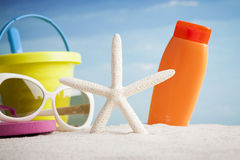 Beach accessories with starfish Stock Images