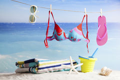 Beach accessories with starfish Stock Photography