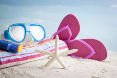 Beach accessories with starfish and snorkel mask Stock Photos