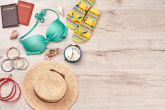 Beach accessories stuff, wooden space. Stock Image