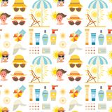 Beach accessories summer fashion beach travel beautiful tropical lifestyle suntan people seamless pattern background. Beach accessories summer suntan vector Royalty Free Stock Photography