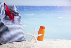 Beach accessories, summer vacation background Royalty Free Stock Photo